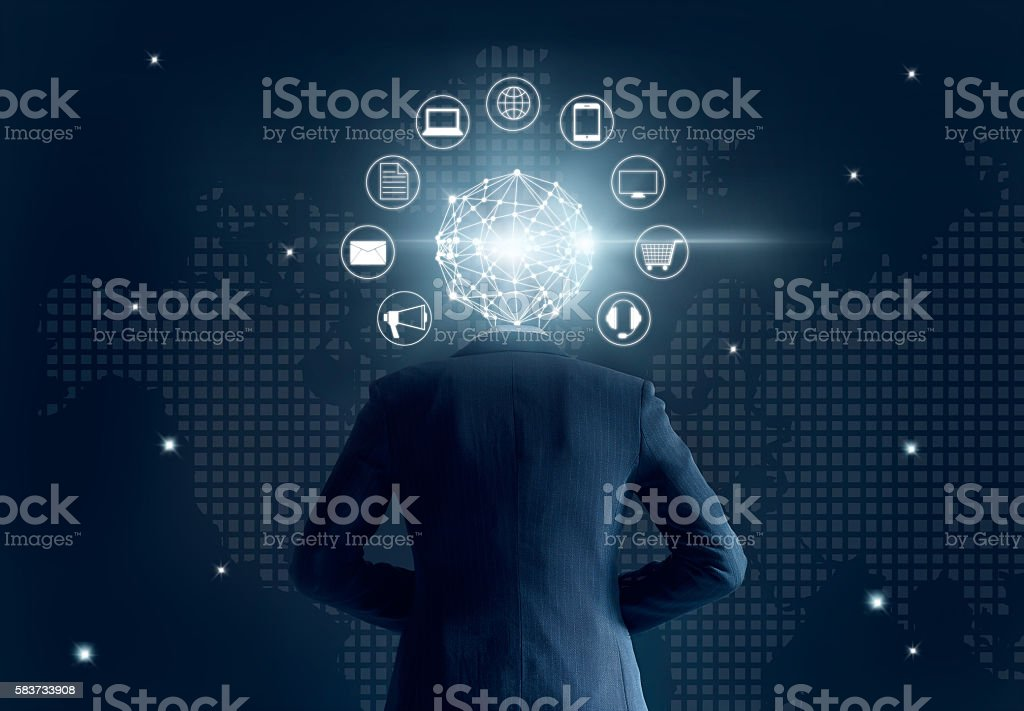 Businessman with global network connection head, on dark background stock photo