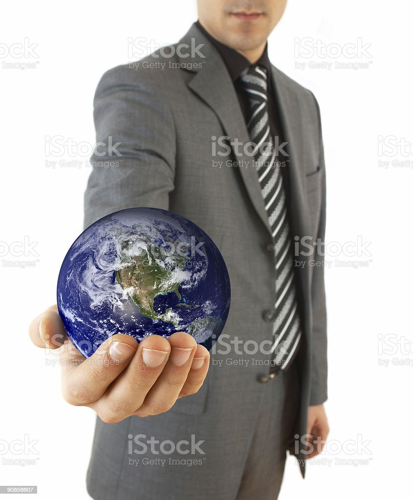 businessman with globe royalty-free stock photo