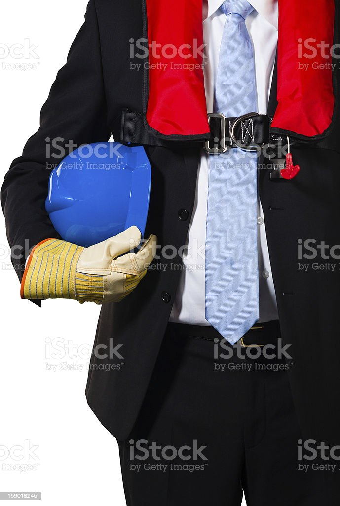 businessman with gloves, hardhat and live lacket royalty-free stock photo