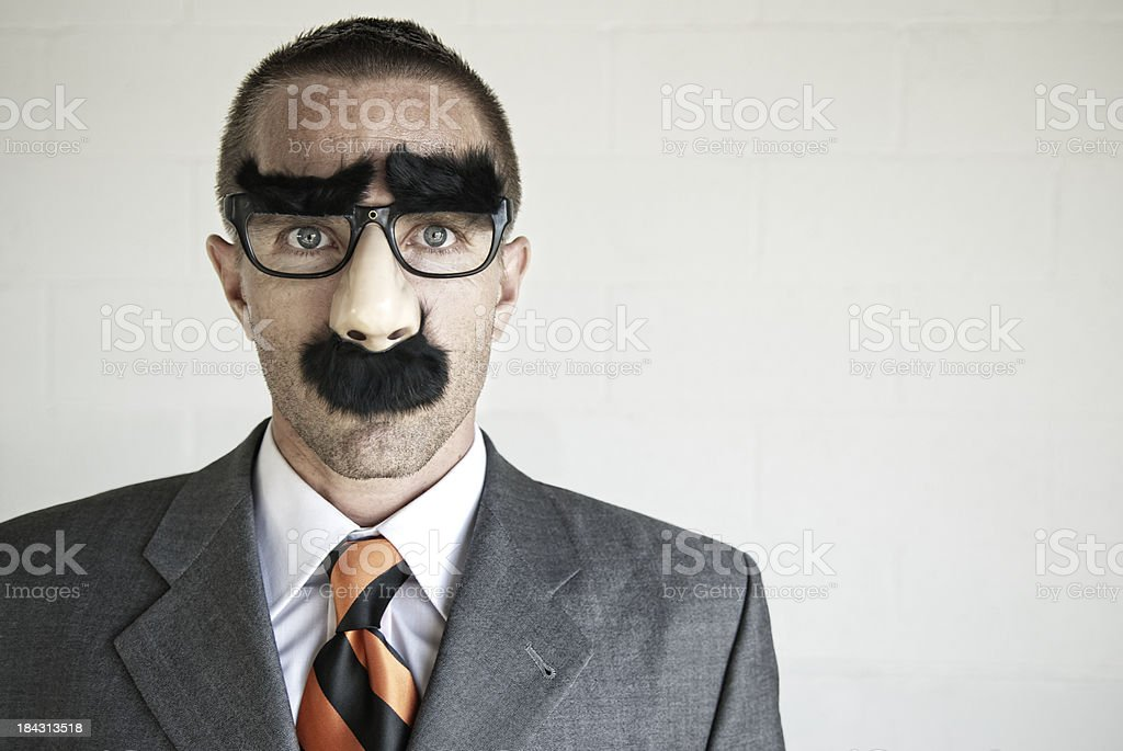 Businessman with Groucho Marx Disguise Specs Looking at Camera stock photo