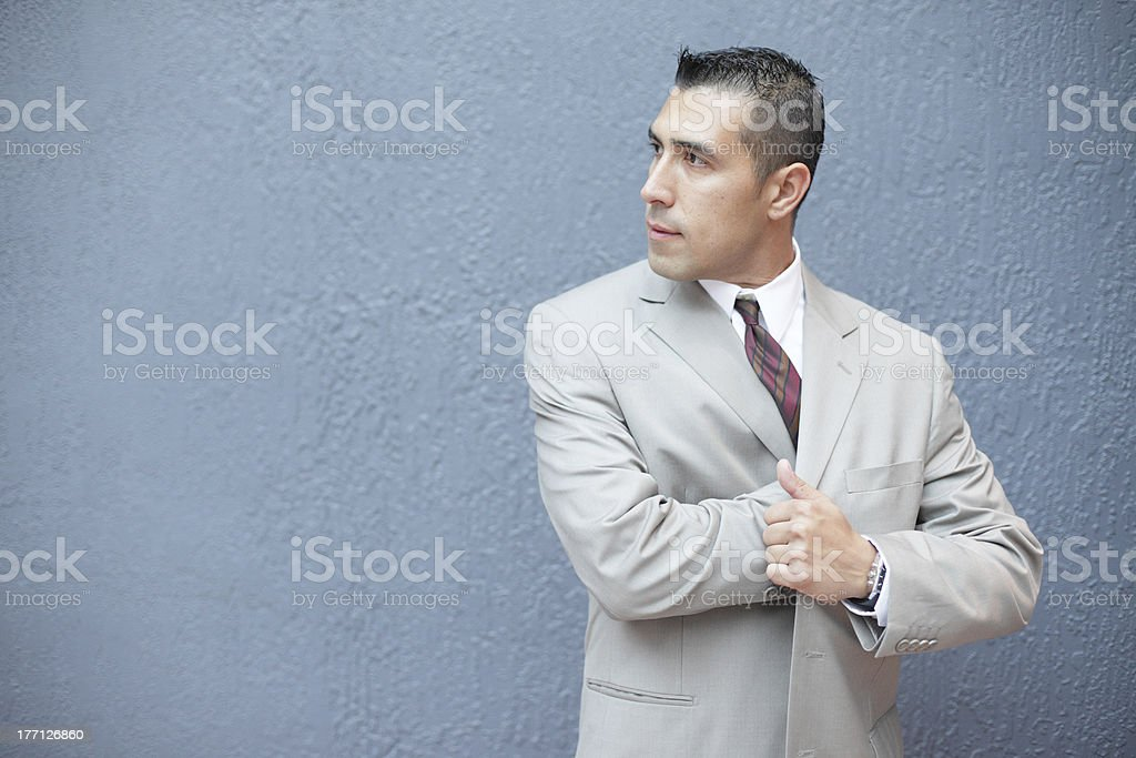 Businessman with hand in jacket royalty-free stock photo