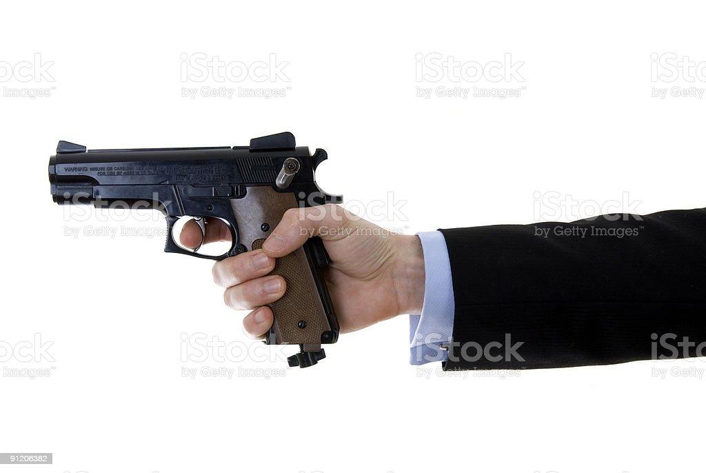 Businessman with handgun royalty-free stock photo