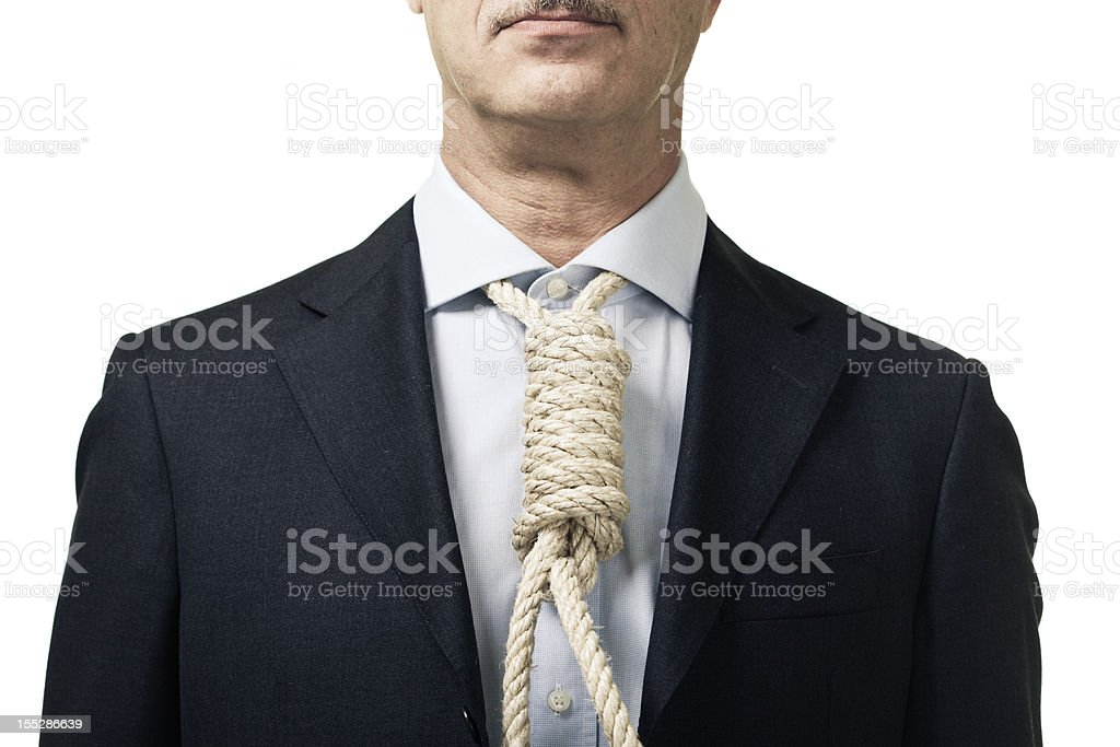 Businessman with hanging rope instead of tie stock photo