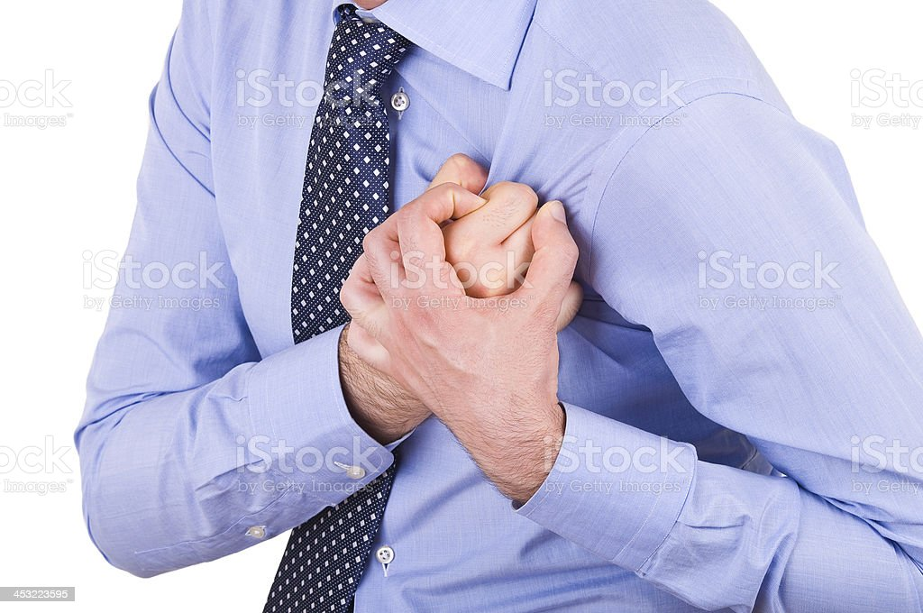 Businessman with heart attack. royalty-free stock photo