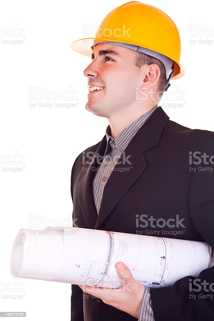 businessman with helmet looking up royalty-free stock photo