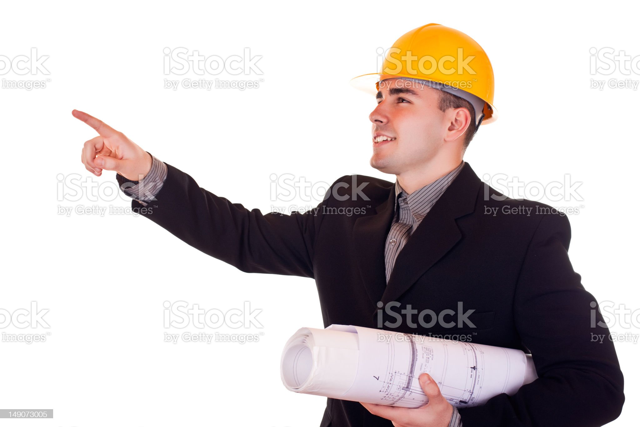 businessman with helmet show up royalty-free stock photo
