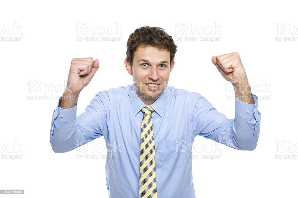 businessman with his arms up, celebrating success, isolated royalty-free stock photo