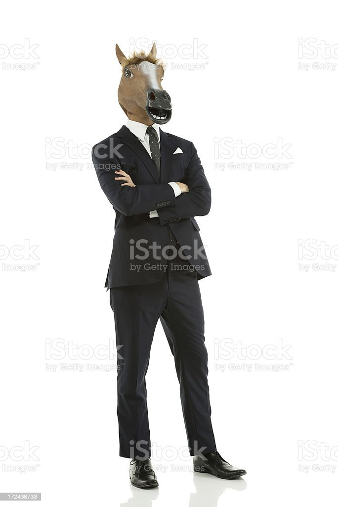 Businessman with horse's head royalty-free stock photo