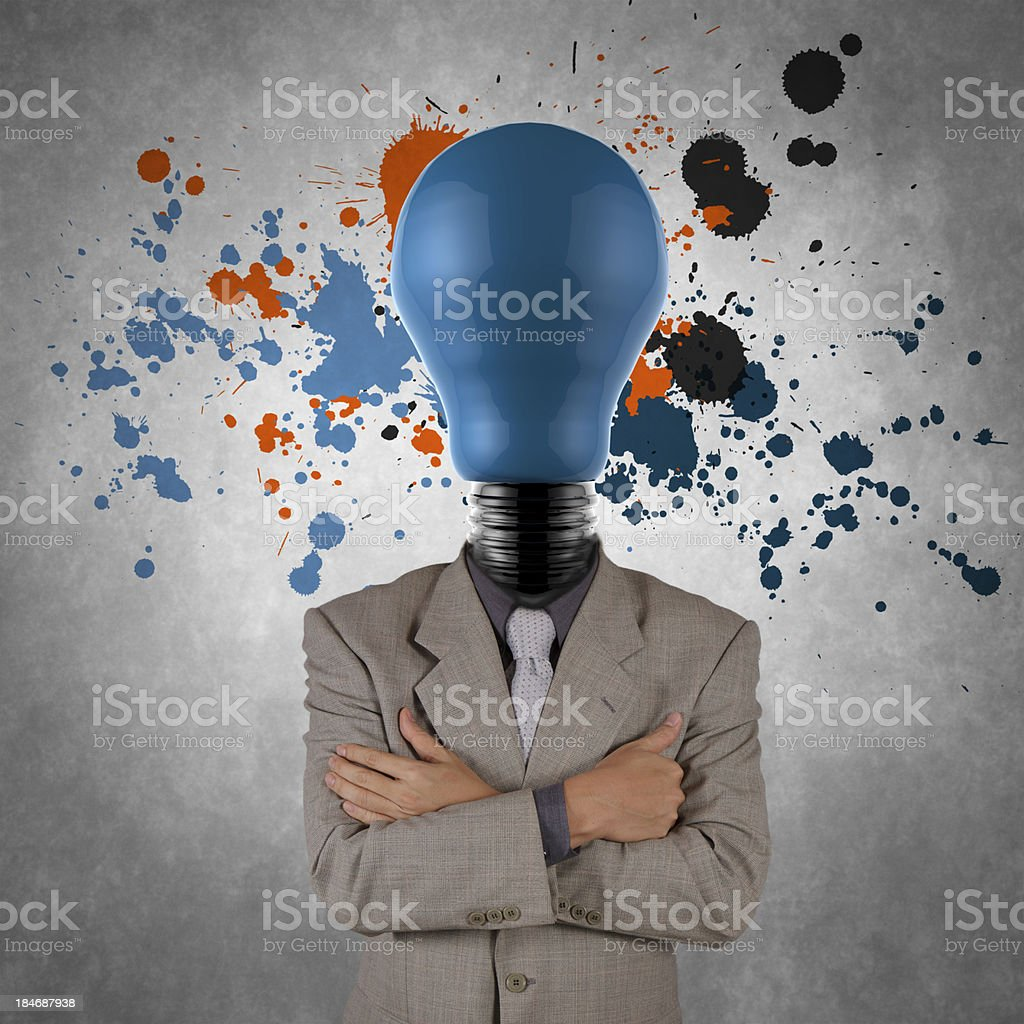 businessman with lamp-head and splash colors royalty-free stock photo