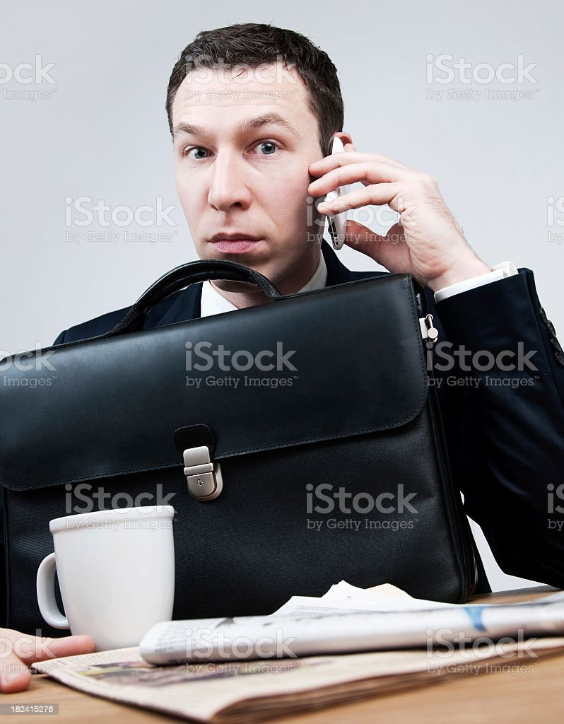 Businessman with leather briefcase royalty-free stock photo