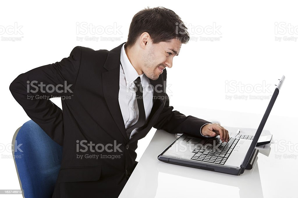 Businessman with lower back ache royalty-free stock photo