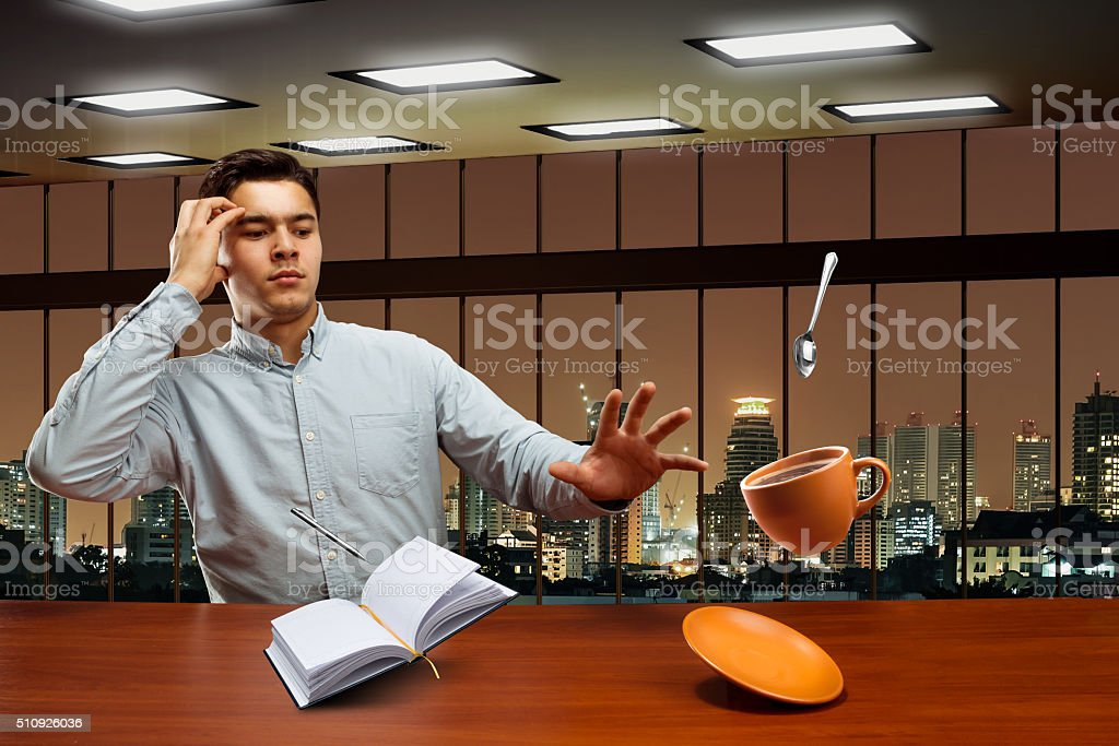 Businessman with magic stock photo