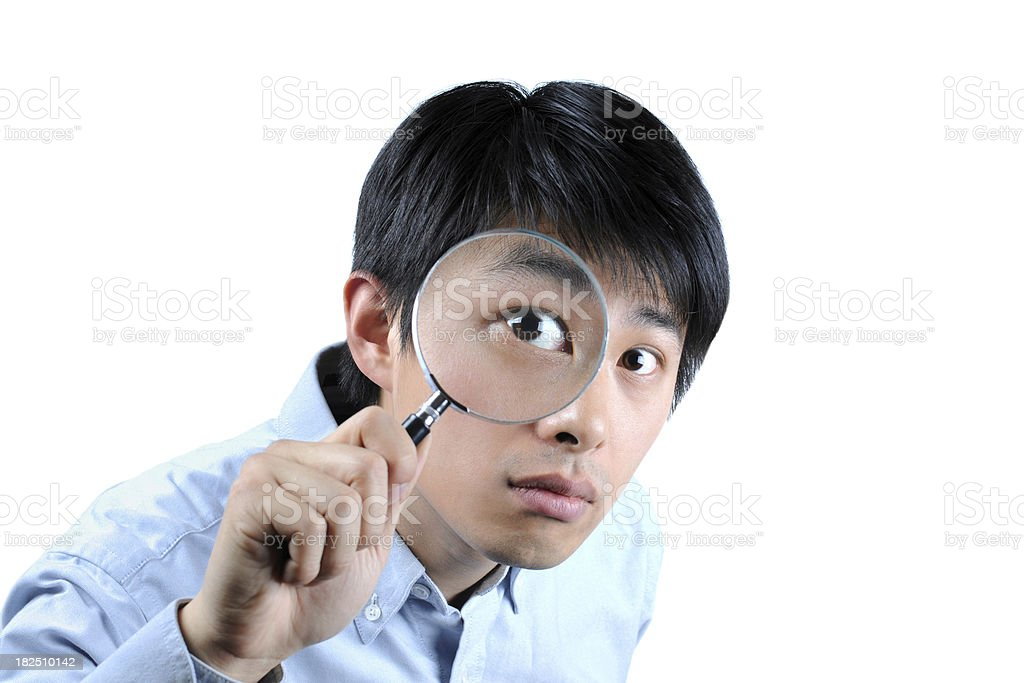 Businessman with Magnifier Glass - XLarge royalty-free stock photo