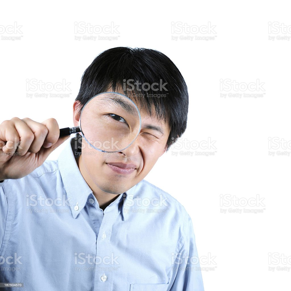 Businessman with Magnifier Glass - XXLarge royalty-free stock photo