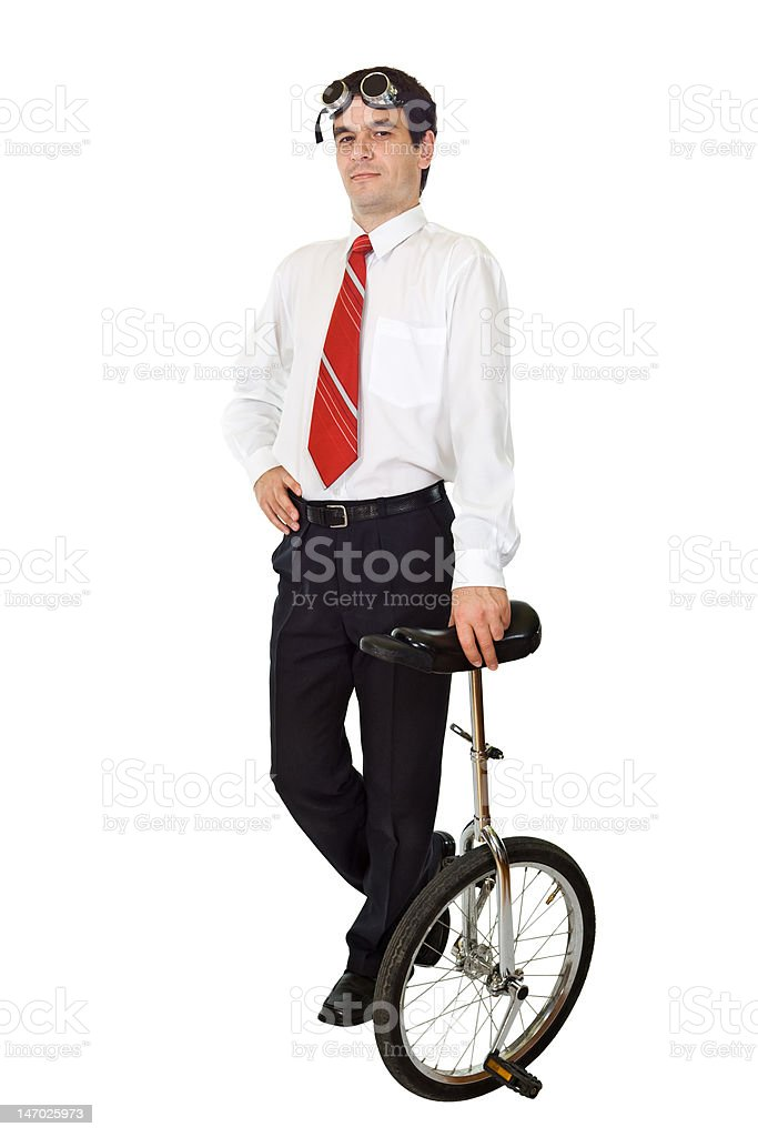Businessman with monocycle royalty-free stock photo