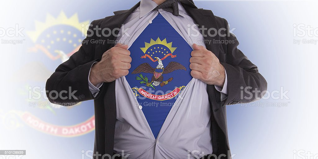 Businessman with North Dakota flag t-shirt stock photo
