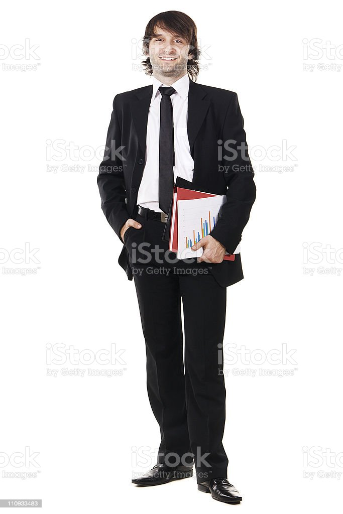 Businessman with papers and folders stock photo