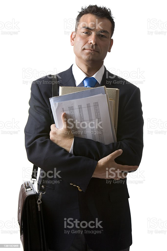 Businessman with paperwork and briefcase royalty-free stock photo