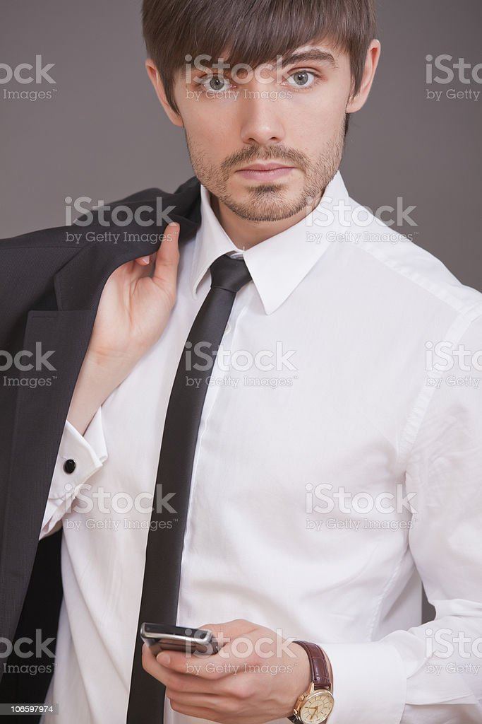 businessman with phone royalty-free stock photo