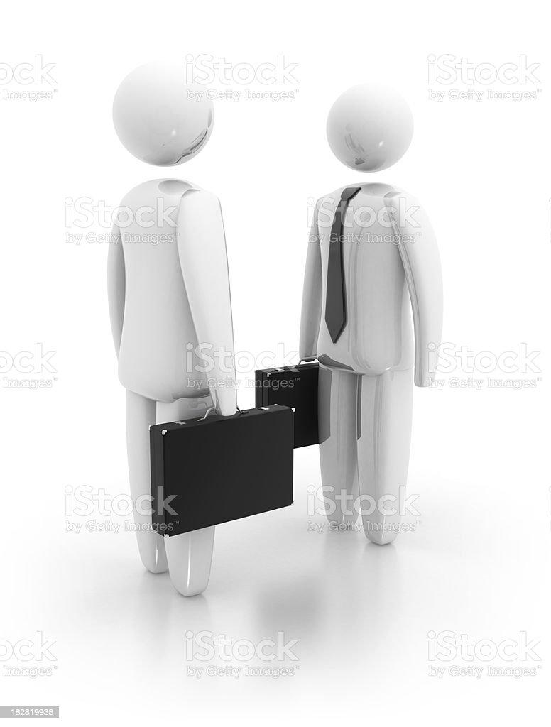 3D businessman with portfolio royalty-free stock photo