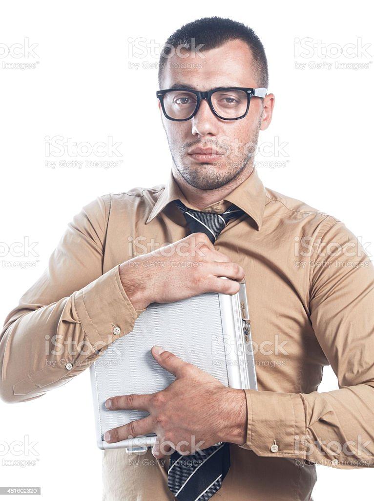 Businessman with protective case stock photo