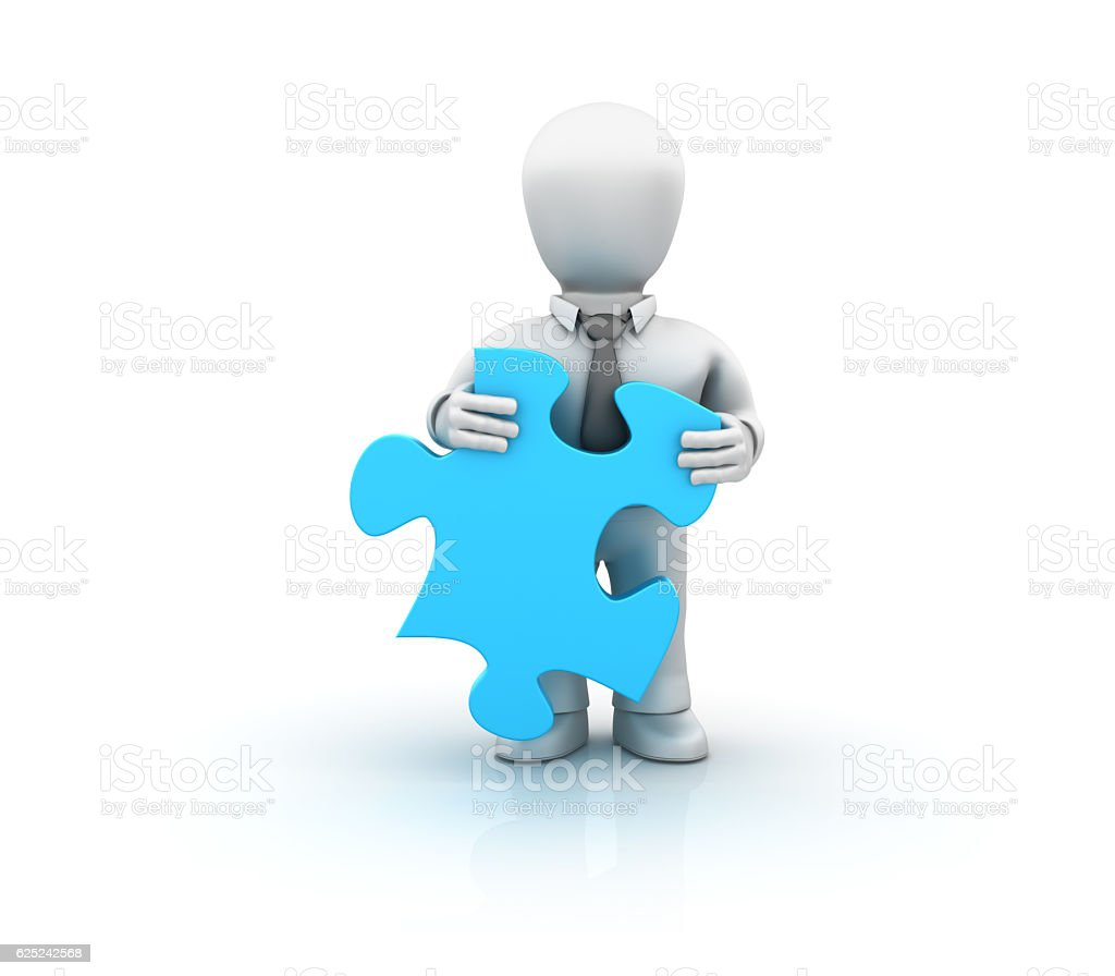 Businessman with Puzzle Piece - 3D Rendering stock photo
