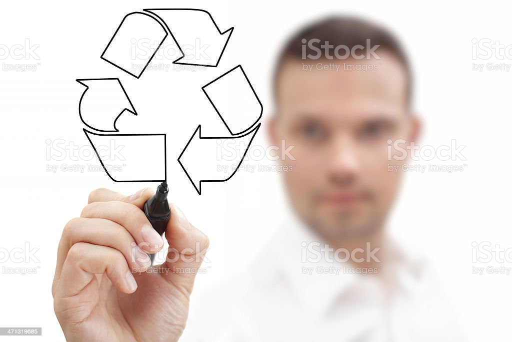 Businessman with Recycling Symbol royalty-free stock photo