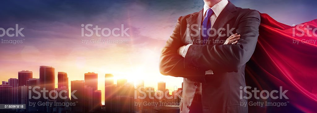 Businessman With Red Cape stock photo