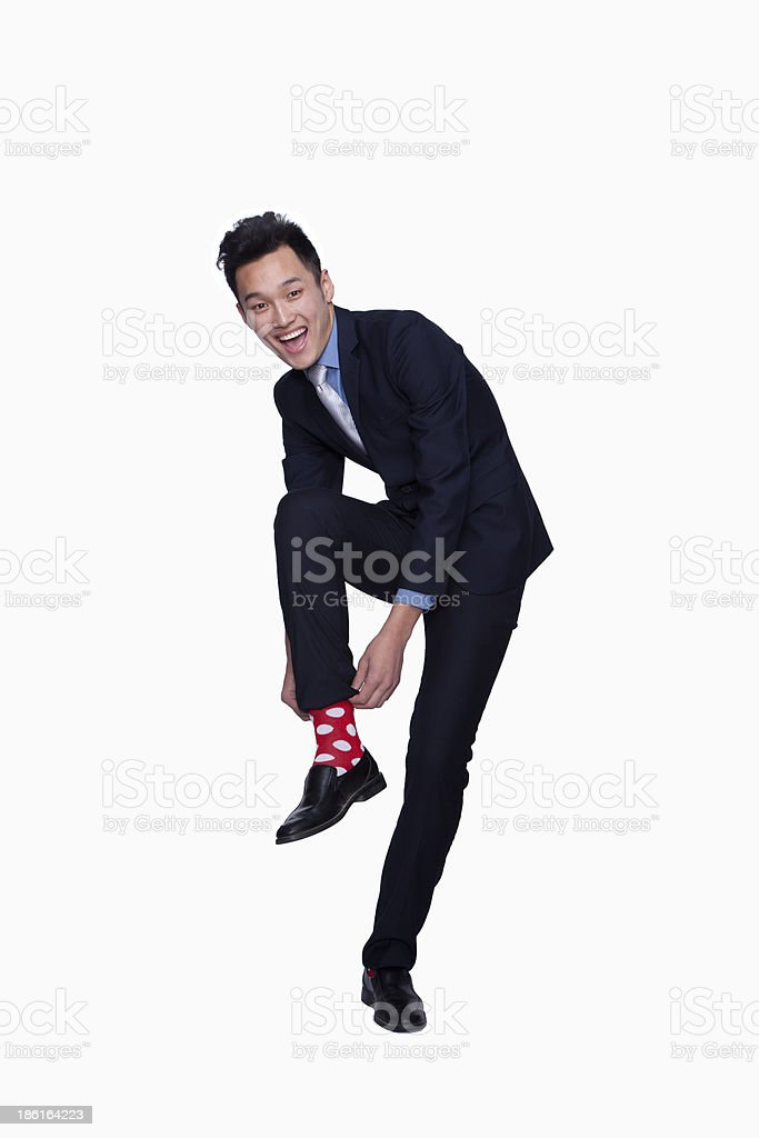 Businessman with Red Polka Dot Socks royalty-free stock photo