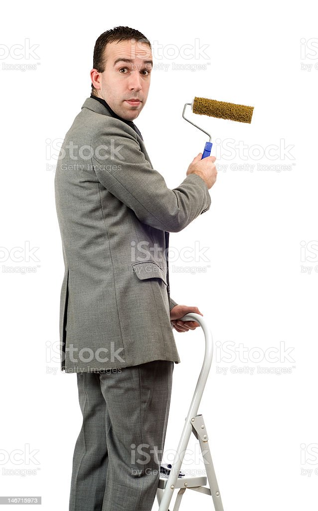 Businessman With Roller Brush royalty-free stock photo