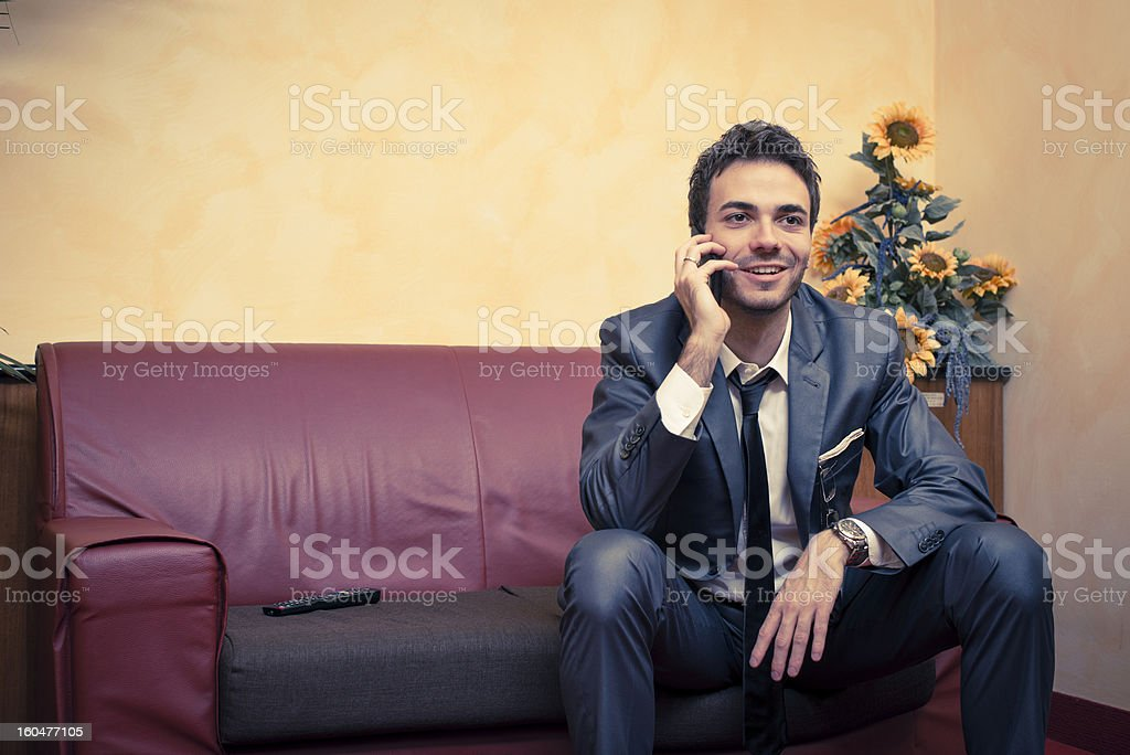 Businessman with smartphone royalty-free stock photo