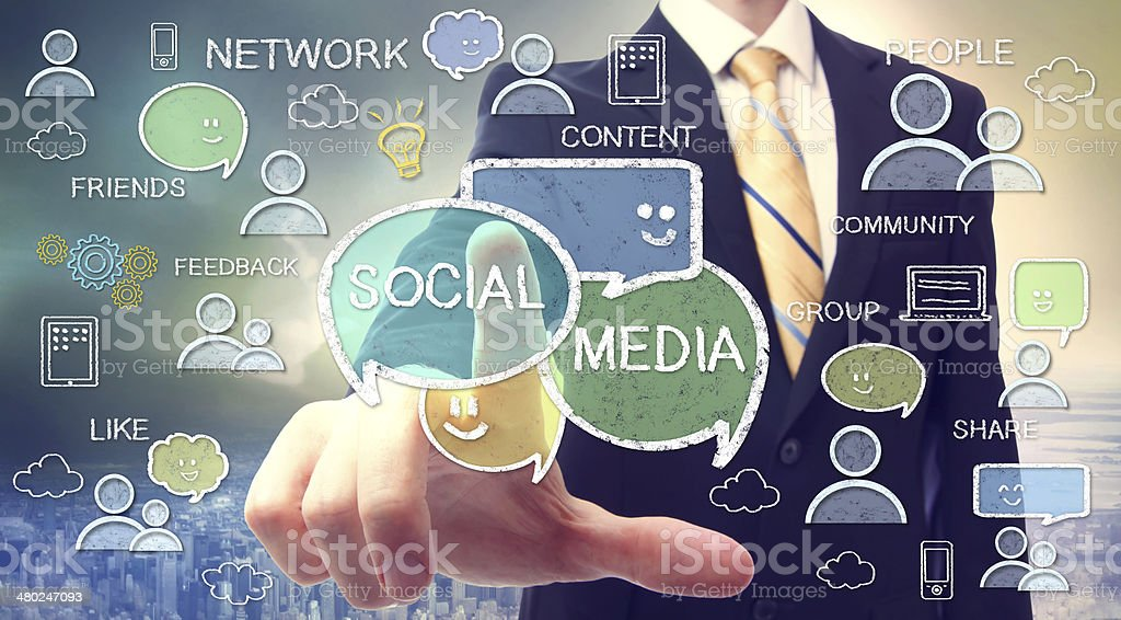 Businessman with social media concepts stock photo
