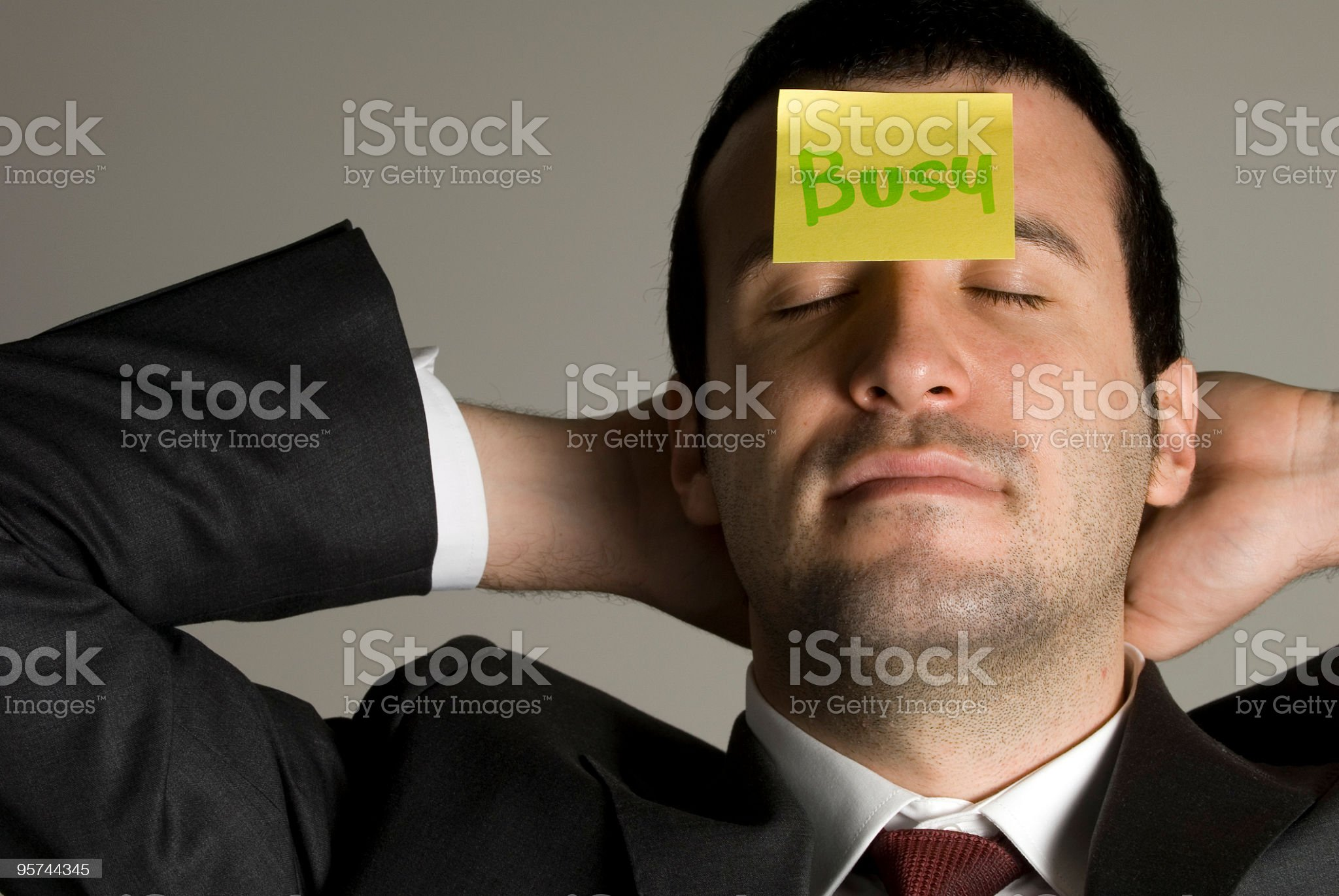 Businessman with sticker on forehead, portrait, busy, Turkey royalty-free stock photo
