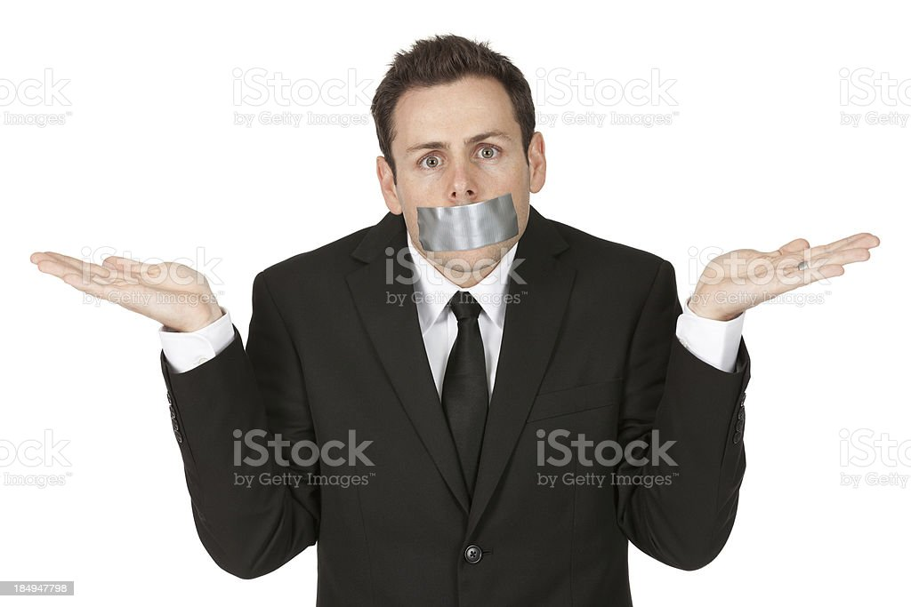 Businessman with sticky tape on his mouth royalty-free stock photo