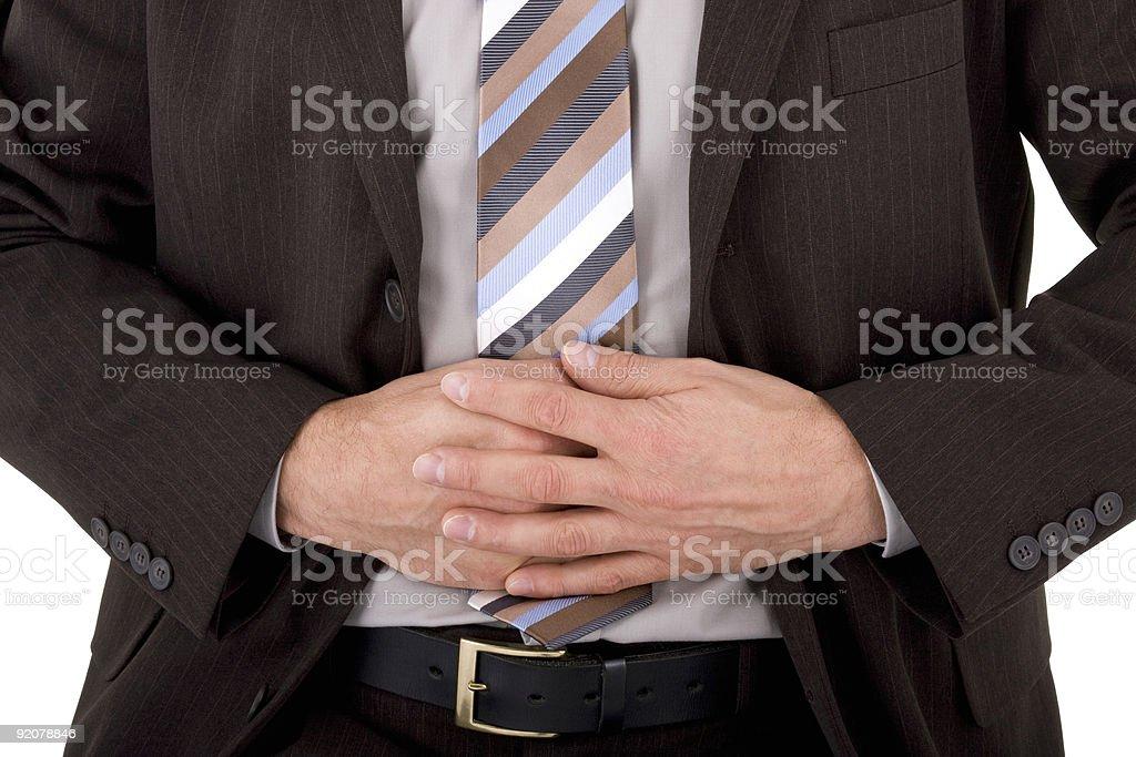 Бизнесмен с боль в желудке Стоковые фото Стоковая фотография