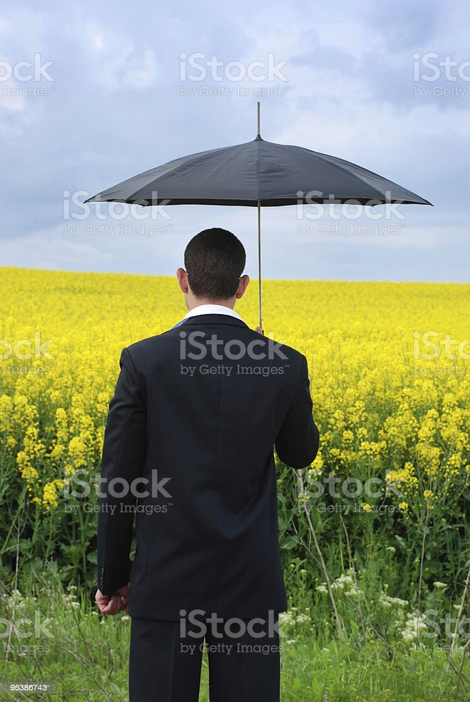 businessman with suit and umbrella stock photo