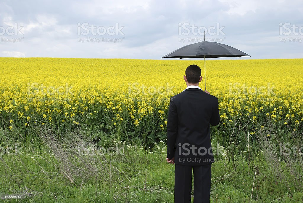 Businessman with suit - financial disaster stock photo