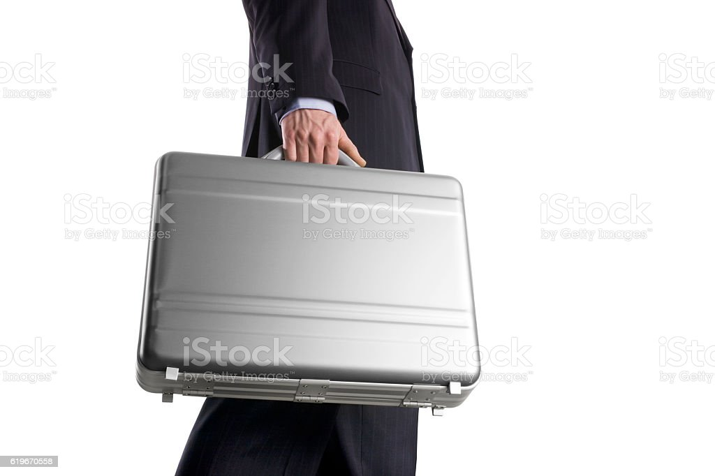 Businessman with suitcase on a white background stock photo