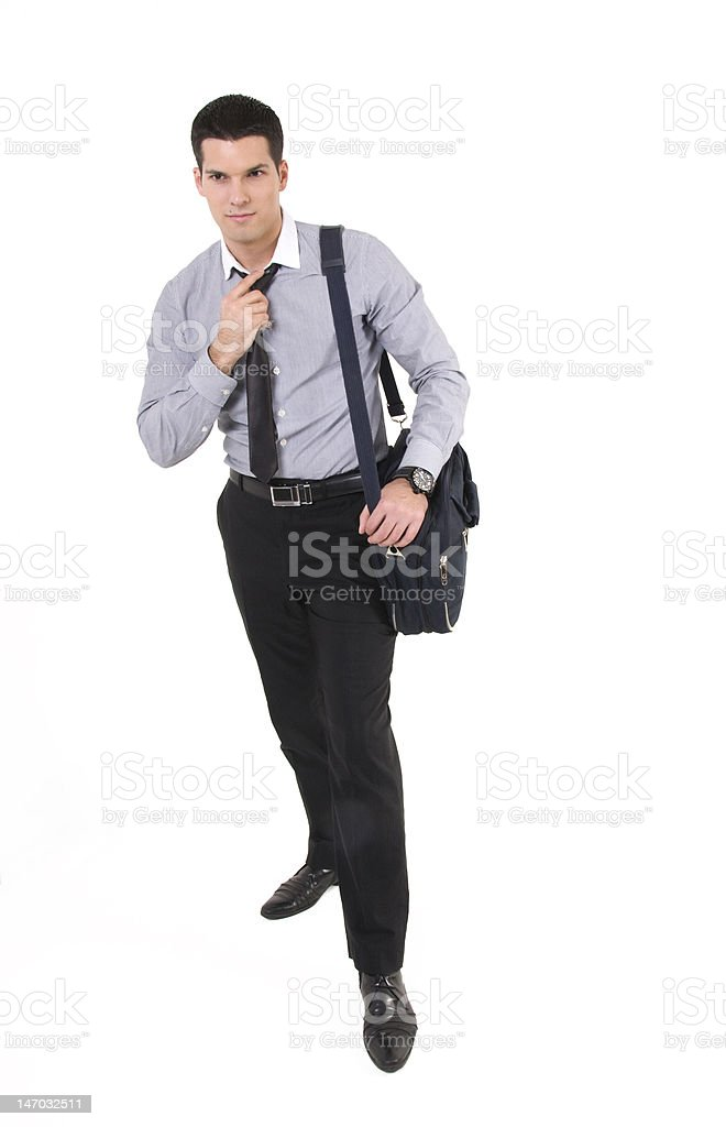 Businessman with suitcase royalty-free stock photo