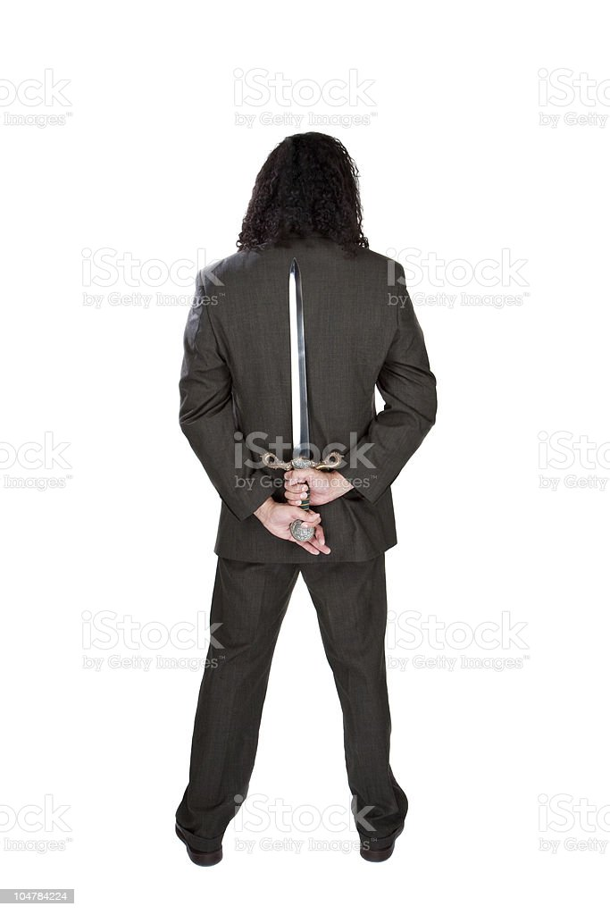 Businessman with sword stock photo
