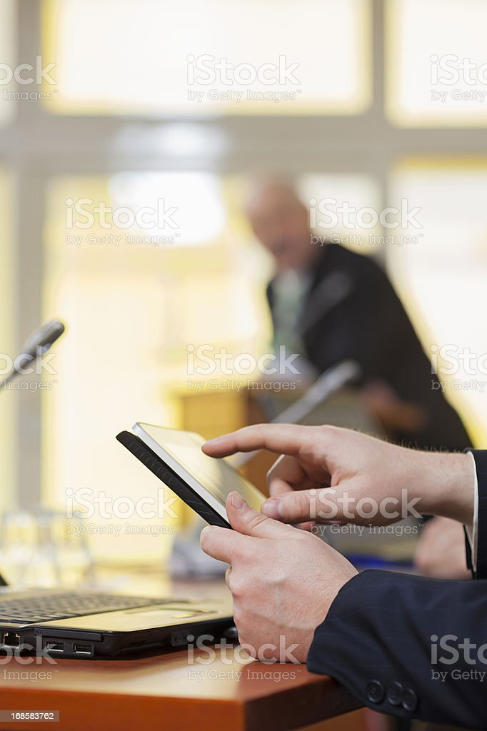 Businessman with tablet pc royalty-free stock photo