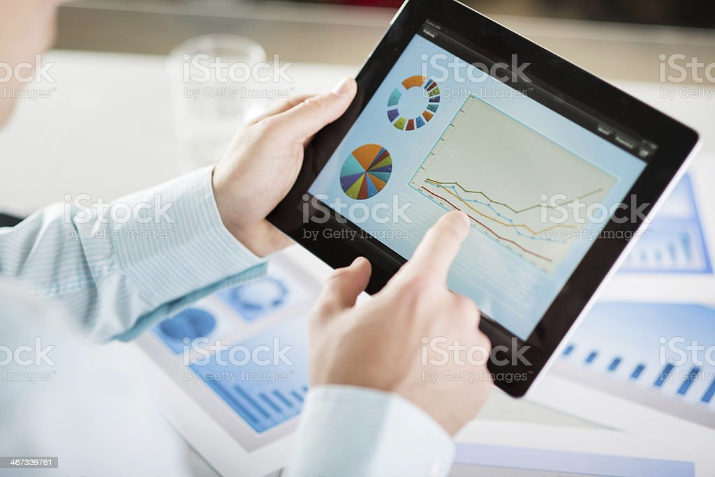 Businessman with tablet stock photo
