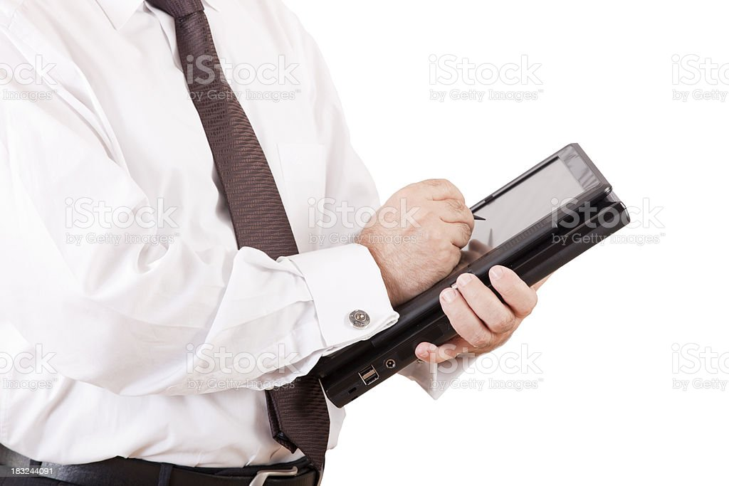 businessman with tablet-pc in hands royalty-free stock photo