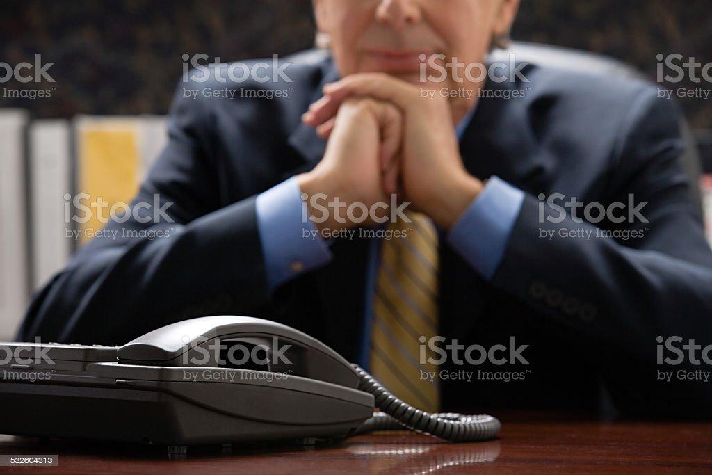 Businessman with telephone stock photo