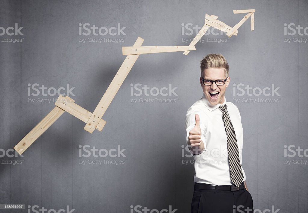 Businessman with thumb up. stock photo