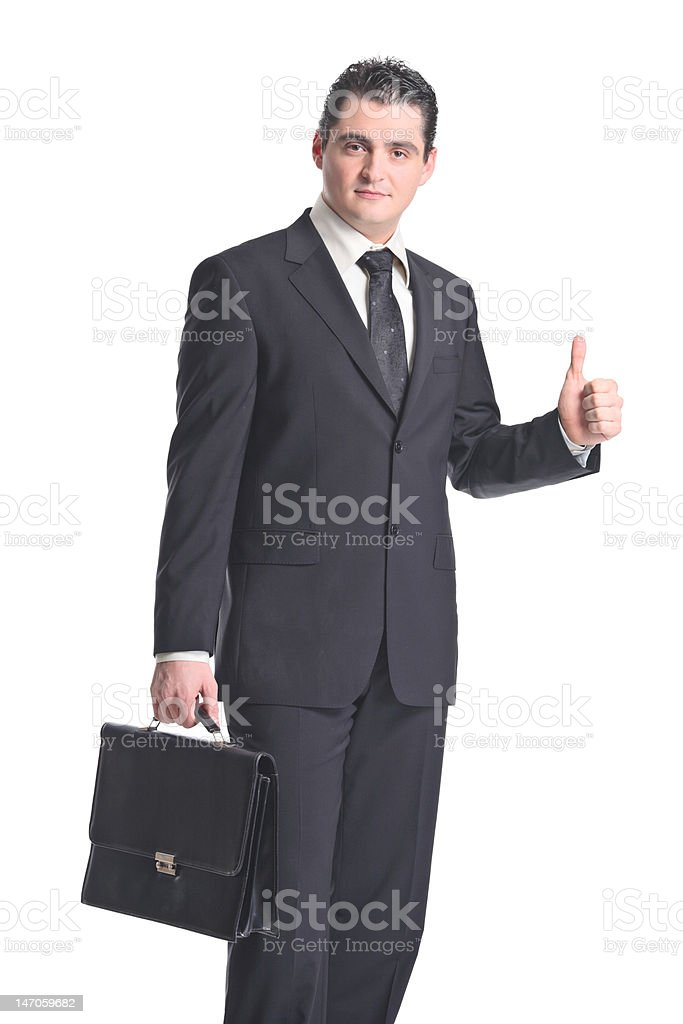 Businessman with thumbs up royalty-free stock photo