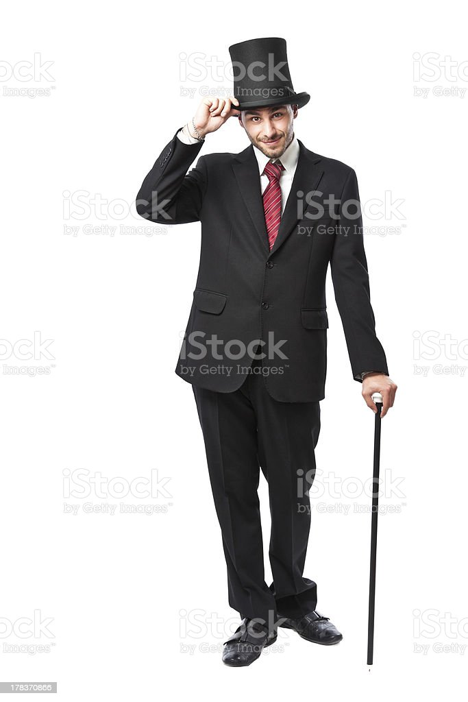 Businessman with Top Hat smiling royalty-free stock photo