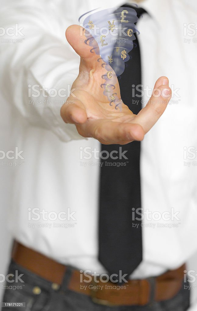 Businessman with twister of money symbols royalty-free stock photo