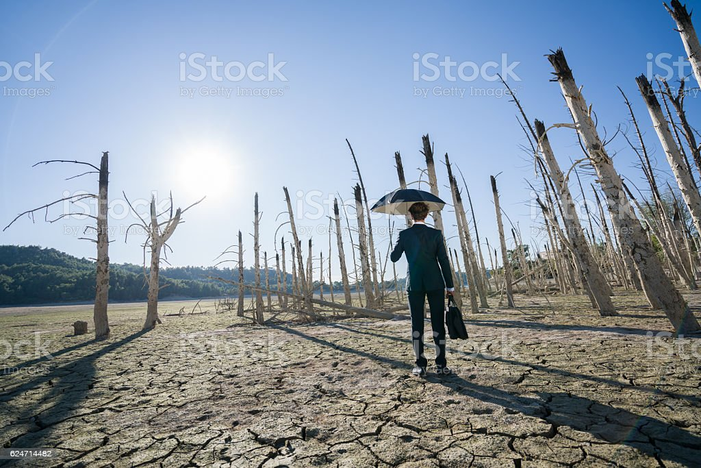 Businessman with umbrella standing on cracked earth stock photo
