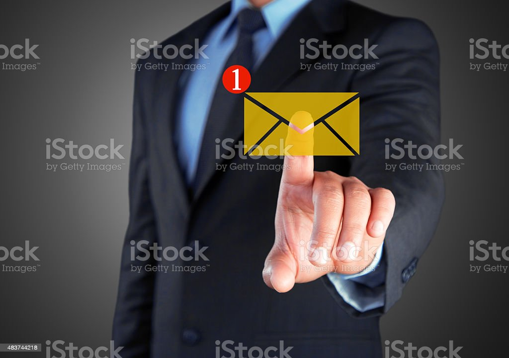 Businessman with unread message icon on screen stock photo